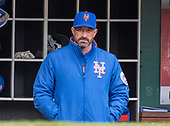 New York Mets manager Mickey Callaway (36) in the dugout prior to the game against the Washington Nationals at Nationals Park in Washington, D.C. on Saturday April 7, 2018.<br /> Credit: Ron Sachs / CNP<br /> (RESTRICTION: NO New York or New Jersey Newspapers or newspapers within a 75 mile radius of New York City)