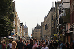Crowds of people shopping, Cornmarket Street, city centre Oxford, England, UK