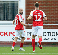 Fleetwood Town's Paddy Madden (left) celebrates with team-mate Jimmy Dunne after scoring the opening goal  <br /> <br /> Photographer Rich Linley/CameraSport<br /> <br /> The EFL Sky Bet League One - Fleetwood Town v Oxford United - Saturday 7th September 2019 - Highbury Stadium - Fleetwood<br /> <br /> World Copyright © 2019 CameraSport. All rights reserved. 43 Linden Ave. Countesthorpe. Leicester. England. LE8 5PG - Tel: +44 (0) 116 277 4147 - admin@camerasport.com - www.camerasport.com