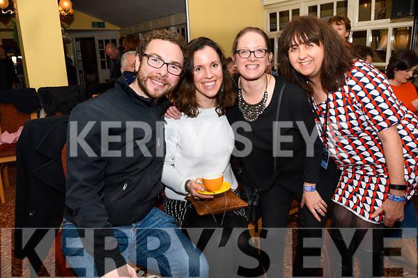 John Caulfield, Marina Wild, Demelza Lynn and Majella O'Dea enjoying Other Voices at Benners, Dingle, on Saturday night.