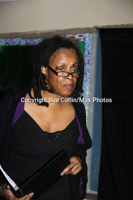 """Niambi Steels is a part of Evern Gillard-Randolph, playwright and founder of Grandparents Around the World, new play """"To Do List"""" in a first play reading on December 7, 2013 at the Salvation Army Harlem Corps, New York, New York.  (Photo by Sue Coflin/Max Photos)"""