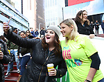 Ryan Redmond and Laura Heywood, aka @BroadwayGirlNYC, attends Big Hug Day: Broadway comes together to spread kindness and raise funds for Children's Hospitals on January 21, 2018 at Duffy Square, Times Square in New York City.