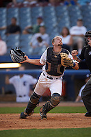 Connecticut Tigers catcher Shane Zeile (59) looks for a foul ball popup during the first game of a doubleheader against the Brooklyn Cyclones on September 2, 2015 at Senator Thomas J. Dodd Memorial Stadium in Norwich, Connecticut.  Brooklyn defeated Connecticut 7-1.  (Mike Janes/Four Seam Images)