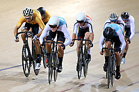 Regan Gough (L) of East Coast North Island and Campbell Stewart compete in the Elite Men Omnium 4, Points Race 25km, at the Age Group Track National Championships, Avantidrome, Home of Cycling, Cambridge, New Zealand, Saturday, March 18, 2017. Mandatory Credit: © Dianne Manson/CyclingNZ  **NO ARCHIVING**