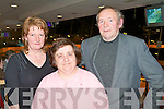 50TH BIRTHDAY: Mary Curran, Lixnaw enjoying a great time celebrating her 50th birthday with family and friends at Kingdom Greyhound Stadium on Friday l-r: Elizabeth Roche, Mary Curran and John McCarthy.