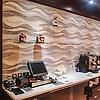 Mirage, a custom hand chopped tumbled natural stone mosaic backsplash, is shown in Kay's Green, Celeste, Thassos, Blue Macauba, Blue Bahia, and Ming Green.<br /> -photo courtesy of Sensi and the Sheraton Dubai