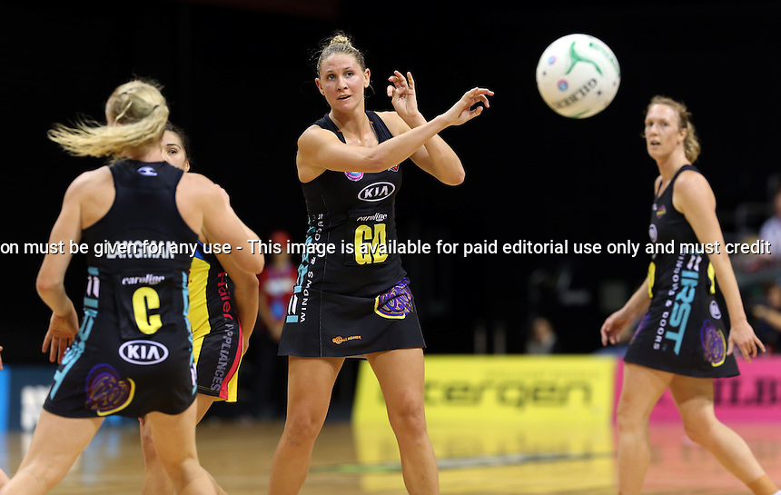 13.05.2013 Magic's Casey Kopua in action during the ANZ Champs netball match between the Magic and Pulse played at Claudelands Arena in Hamilton. Mandatory Photo Credit ©Michael Bradley.