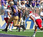 Washington Huskies'  quarterback Cyler Miles runs for a touchdown against the Eastern Washington Eagles' at Husky Stadium September 6, 2014 in Seattle. Huskies out lasted the Eagles in a high powered shootout 59-52 in the third highest scoring game in Husky history. ©2014. Jim Bryant  Photo. All Rights Reserved