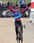 January 10, 2016 - Asheville, North Carolina, U.S. -  Aspire Racing cyclist, Jeremy Powers, celebrates his victory during the USA Cycling Cyclo-Cross National Championships at the historic Biltmore Estate, Asheville, North Carolina.