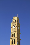 Israel, Acco, the clock tower of Khan el-Umdan