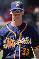 Ryan Reid # 33 of the Montgomery Biscuits walking in from the bullpen to the dugout during a game against the Carolina Mudcats on April 18, 2010 in Zebulon, NC.