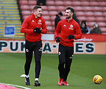 John Lundstram of Sheffield Utd and Jake Wright of Sheffield Utd warm up during the Championship match at Bramall Lane Stadium, Sheffield. Picture date 30th December 2017. Picture credit should read: Simon Bellis/Sportimage