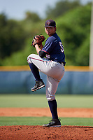 GCL Twins starting pitcher Kai-Wei Teng (56) delivers a pitch during a game against the GCL Rays on August 9, 2018 at Charlotte Sports Park in Port Charlotte, Florida.  GCL Twins defeated GCL Rays 5-2.  (Mike Janes/Four Seam Images)