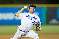 Burlington Royals relief pitcher Michael Silva (15) in action against the Princeton Rays at Burlington Athletic Stadium on August 12, 2016 in Burlington, North Carolina.  The Royals defeated the Rays 9-5.  (Brian Westerholt/Four Seam Images)