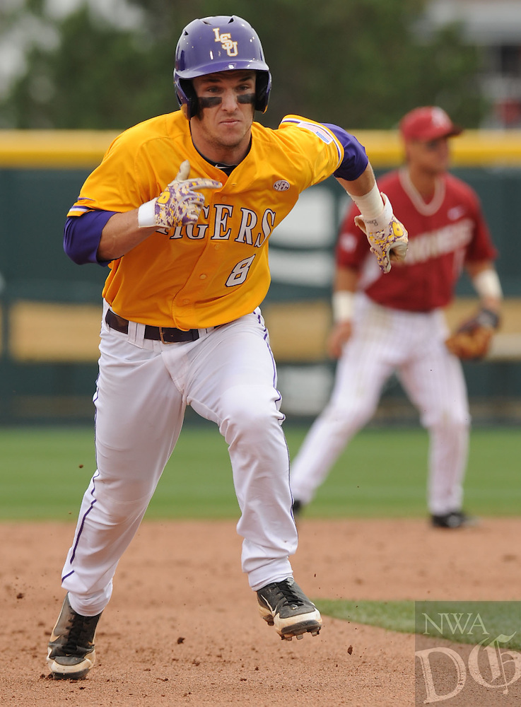 NWA Democrat-Gazette/ANDY SHUPE - Alex Bregman of LSU heads to third during the fifth inning Saturday, March 21, 2015, at Baum Stadium in Fayetteville. Visit nwadg.com/photos for more photos from the game.