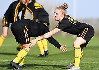 20190226 - LARNACA , CYPRUS :  Belgian Elena Dhont (right) pictured in a duel with Belgian Lola Wajnblum (left) during a Matchday -1 training from The Belgian Red Flames prior to their game against the women team of Slovakia , on Tuesday 26 February 2019 at the Alpha Sports Grounds in Larnaca , Cyprus . This will be the first game in group C for Belgium during the Cyprus Womens Cup 2019 , a prestigious women soccer tournament as a preparation on the European Championship 2021 qualification duels. PHOTO SPORTPIX.BE | DAVID CATRY
