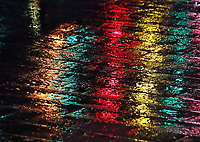 Colourful reflection on the wet pavements at Southbank. London on Saturday February 10th 2018<br /> CAP/ROS<br /> &copy;ROS/Capital Pictures
