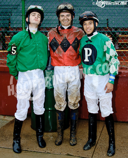 Michael Ritvo, Sheldon Russell and Fray Martinez after a turf race at Delaware Park on 10/15/14