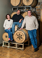 Founder, COO and ETC of Spring 44 Jeff McPhie, CFO Robin Marisco and Founder Jeff Lindauer at the company distillery in Loveland, Colorado, Tuesday, February 15, 2017. Spring44, which makes craft vodka and gin, uses only pure water collected from a spring located in Colorado's Buckhorn Canyon. The property is extremely remote, accessible only by navigating an 11-mile dirt road, culminating with a 2.5-mile jeep trail climbing 2,000 feet of elevation. <br /> <br /> Photo by Matt Nager