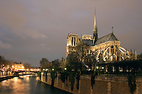 France, Paris, Ile de la Cité, Notre Dame de Paris, 1163 - 1345, initiated by the bishop Maurice de Sully, view from Pont de Sully Picture by Manuel Cohen