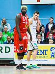 ****BETALBILD**** <br /> Uppsala 2015-04-24 Basket SM-Final 3 Uppsala Basket - S&ouml;dert&auml;lje Kings :  <br /> Uppsalas Brice Massamba bredvid S&ouml;dert&auml;lje Kings Aaron Andersson under matchen mellan Uppsala Basket och S&ouml;dert&auml;lje Kings <br /> (Foto: Kenta J&ouml;nsson) Nyckelord:  Basket Basketligan SM SM-final Final Fyrishov Uppsala S&ouml;dert&auml;lje Kings SBBK portr&auml;tt portrait