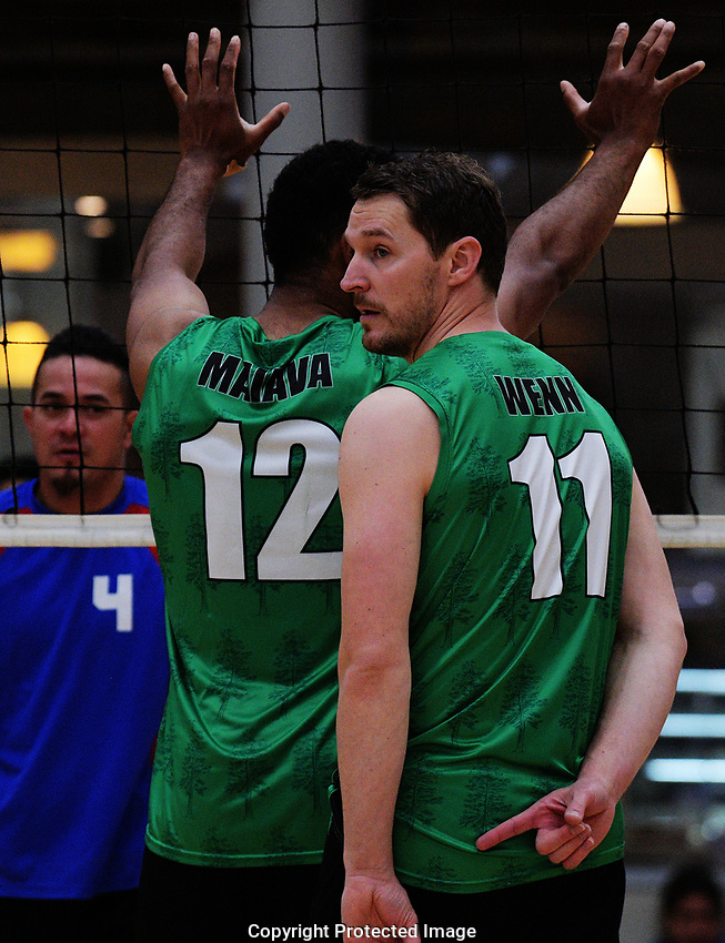 Action from the Volleyball NZ 50th National Club Championship men's division one match between the Pines and South Auckland Orca at ASB Sports Centre in Wellington, New Zealand on Saturday, 12 October 2017. Photo: Dave Lintott / lintottphoto.co.nz