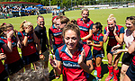 NIJMEGEN -  Vreugde bij Huizen , met Eva den Hartog (Huizen)    na   de tweede play-off wedstrijd dames, Nijmegen-Huizen (1-4), voor promotie naar de hoofdklasse.. Huizen promoveert naar de hoofdklasse.  COPYRIGHT KOEN SUYK
