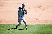 Ryan Walterhouse (17) of the Indiana State Sycamores throws to first base during a game against the Evansville Purple Aces in the 2012 Missouri Valley Conference Championship Tournament at Hammons Field on May 23, 2012 in Springfield, Missouri. (David Welker/Four Seam Images).