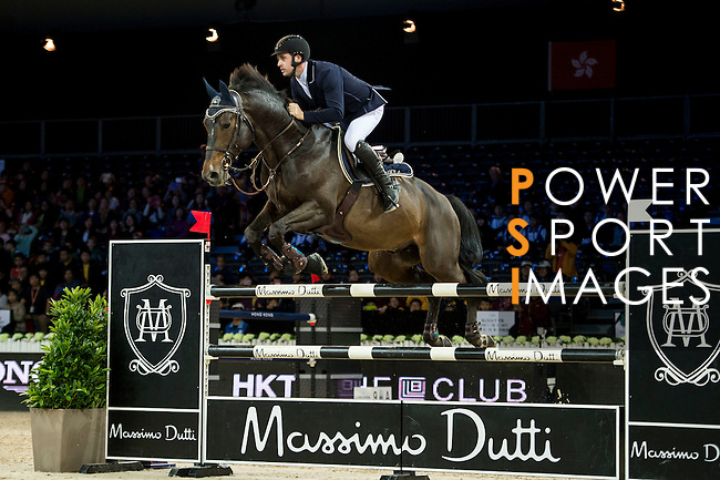 Emanuele Gaudiano on Wodam M competes during competition Table A Against the Clock at the Longines Masters of Hong Kong on 19 February 2016 at the Asia World Expo in Hong Kong, China. Photo by Li Man Yuen / Power Sport Images