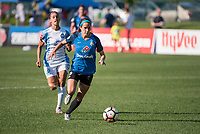 Kansas City, MO - Sunday May 07, 2017: Kristen Edmonds, Shea Groom during a regular season National Women's Soccer League (NWSL) match between FC Kansas City and the Orlando Pride at Children's Mercy Victory Field.