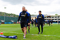 Max Lahiff  and the rest of the Bath Rugby team leave the field prior to the match. Gallagher Premiership match, between Bath Rugby and Wasps on May 5, 2019 at the Recreation Ground in Bath, England. Photo by: Patrick Khachfe / Onside Images