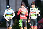 (L to R) Alejandro Valverde, Primoz Roglic and Tadej Pogacar on the podium of the last Stage of La Vuelta 2019 . September 15, 2019. (ALTERPHOTOS/Francis Gonzalez)