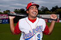 Auburn Doubledays third baseman Anthony Rendon #9 laughs in reaction to joking by teammates while posing for a photo before game two of the semi-final round of the NY-Penn League Playoff series against the Vermont Lake Monstes at Falcon Park on September 8, 2011 in Auburn, New York.  Auburn defeated Vermont 3-2.  (Mike Janes/Four Seam Images)