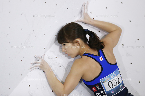 Aya Onoe (JPN),<br /> APRIL 23, 2016 - Sports Climbing : <br /> IFSC Climbing World Cup - Bouldering Kazo 2016 <br /> Women's Qualification <br /> at Kazo Civic Gymnasium, Saitama, Japan. <br /> (Photo by Shingo Ito/AFLO SPORT)