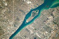 Aerial of the Detroit river and Belle Island, Michigan