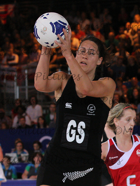 Jodi Brown of Team New Zealand against Team England in the Netball Semi Final for the 20th Commonwealth Games, Glasgow 2014 at the Scottish Exhibition and Conference Centre, Glasgow on 2.8.14.