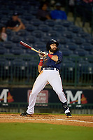 Mississippi Braves Alejandro Salazar (48) avoids an inside pitch during a Southern League game against the Jacksonville Jumbo Shrimp on May 4, 2019 at Trustmark Park in Pearl, Mississippi.  Mississippi defeated Jacksonville 2-0.  (Mike Janes/Four Seam Images)