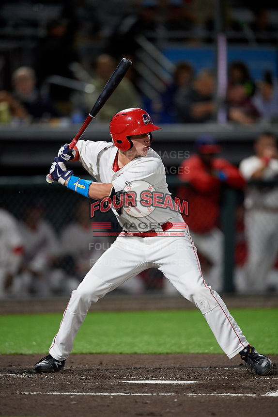 Auburn Doubledays Jack Dunn (1) at bat during a NY-Penn League game against the West Virginia Black Bears on August 23, 2019 at Falcon Park in Auburn, New York.  West Virginia defeated Auburn 6-5, the second game of a doubleheader.  (Mike Janes/Four Seam Images)