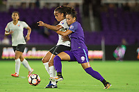 Orlando, FL - Saturday August 12, 2017: Taylor Lytle, Camila Martins Pereira during a regular season National Women's Soccer League (NWSL) match between the Orlando Pride and Sky Blue FC at Orlando City Stadium.
