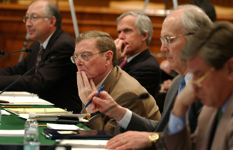 From left as seated, Sens. Ken Salazar, D-Colo., Jeff Bingaman, D-N.M., Pete Domenici, R-N.M., Larry Craig, R-Idaho, and Gordon Smith, R-Ore., listen to testimony at a bipartisan conference to discuss solutions to the challenge of meeting the nation's increasing water demand.