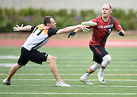 May 24, 2015; Los Angeles, CA, USA; Los Angeles Aviators offensive handler Joe Forbes (3) is defended by San Francisco Flamethrowers defensive handler Clay Miller (11) in an American Ultimate Disc League (AUDL) match at Occidental College. The Aviators defeated the Flamethrowers 23-22. <br /> <br /> Photo by Kirby Lee
