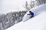 Cliff Barber skiing deep powder at Mt. Rose Ski Tahoe
