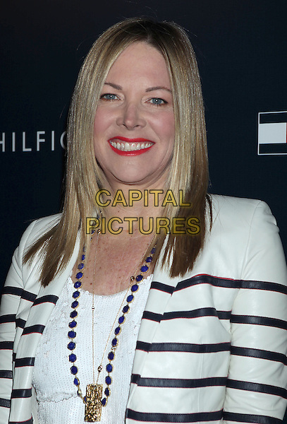 Maria Bell.Tommy Hilfiger West Coast Flagship Grand Opening Event, West Hollywood, California, USA, .13th February 2013 ..portrait headshot white striped jacket blazer red lipstick make-up necklace blue .CAP/ADM/RE.©Russ Elliot/AdMedia/Capital Pictures.