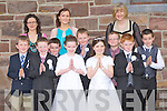 Fybough NS pupils who received their First Holy Communion in Keel on Saturday morning front row l-r: Liam Evans, Shane Evans, Brendan Gallagher, Sarah Cremins, Tadhg Evans, Cianna Foley, Fionán Griffin, DJ O'Mahony, Luke Benson. Back row: Miss Eileen Lovett, Rose O'Connor Teacher and Angela Prendergast Principal.