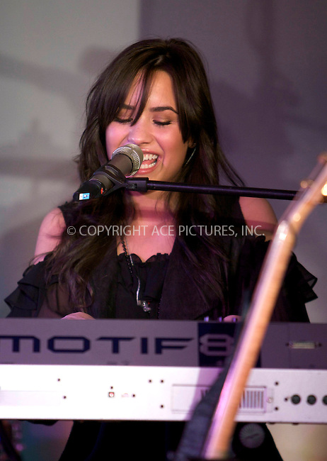 WWW.ACEPIXS.COM . . . . .  ..... . . . . US SALES ONLY . . . . .....April 22 2009, London....Singer and actress Demi Lovato performed live at the Apple Store in London on April 22 2009 in England....Please byline: FAMOUS-ACE PICTURES... . . . .  ....Ace Pictures, Inc:  ..tel: (212) 243 8787 or (646) 769 0430..e-mail: info@acepixs.com..web: http://www.acepixs.com