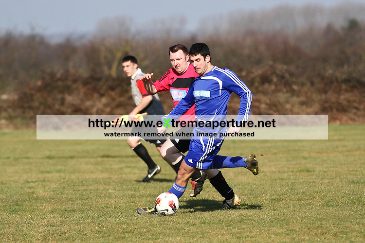 Houghton Conquest (pink) v Marston Reds (blue), Bedford and District Sunday Football League, Dearden Trophies Second Division.  Sunday 26 February 2012.
