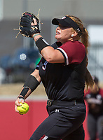NWA Democrat-Gazette/BEN GOFF @NWABENGOFF<br /> Cayla Drotar pitches for South Carolina in the 6th inning vs Arkansas Sunday, March 17, 2019, at Bogle Park in Fayetteville.