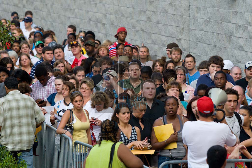 """People line up at the Georgia Dome in Atlanta during registration to audition for the hit television show """"American Idol."""" Tryouts will be held on Tuesday at the Dome."""