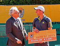 2013-08-17, Netherlands, Raalte,  TV Ramele, Tennis, NRTK 2013, National Ranking Tennis Champ,  Matwe Middelkoop receives the prize from Floor Jonkers<br /> <br /> Photo: Henk Koster