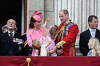 Prince Philip, Duke of Edinburgh; Catherine, Duchess of Cambridge; Princess Charlotte; Prince George &amp; Prince William, Duke of Cambridge; Peter &amp; Savannah Phillips on the balcony of Buckingham Palace following the Trooping of the Colour Ceremony celebrating the Queen's official birthday. London, UK. <br /> 17 June  2017<br /> Picture: Steve Vas/Featureflash/SilverHub 0208 004 5359 sales@silverhubmedia.com